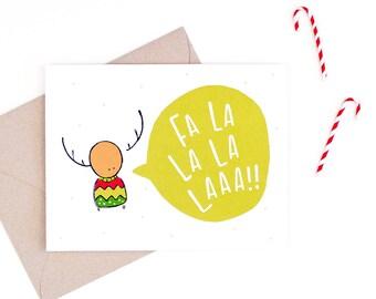 fa la la la la - cute holiday card - recycled paper