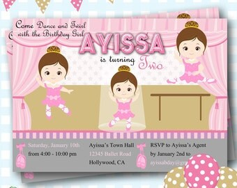 Ballet Birthday Invitations, Ballerina Invites, Digital Ballet Party Invites, Ballerina Party Invitations, Ballet Party Invitations - F11