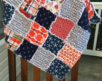 Baby Rag Quilt- Ready to ship Rag Quilt, blue rag quilt, red rag quilt, baby shower gift, baby boy rag quilt, nautical rag quilt