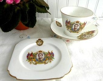 Teacup Trio Coronation King Edward VIII Abdicated 1937 British Royal Memorabilia