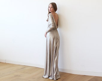 Gold Backless maxi dress with long sleeves, Open back maxi gold gown with long sleeves 1097