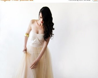 Tulle maxi champagne bridesmaids skirt , Maxi tulle champagne skirt
