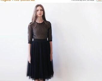 Black Chiffon dots top, Black long sleeves top, Sheer chiffon top
