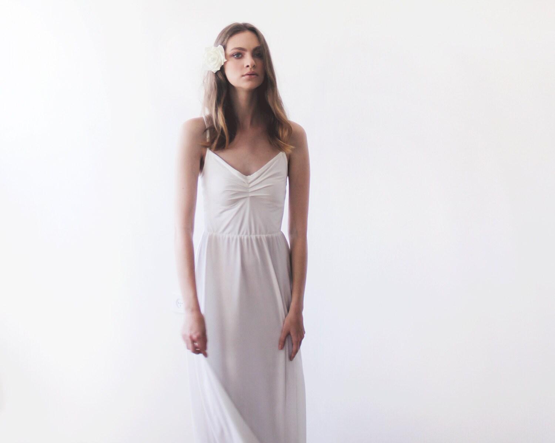 Ivory V Neck Maxi Dress Minimalist Wedding Gown: Ivory Maxi Ballerina Gown Sweetheart Neckline By BLUSHFASHION