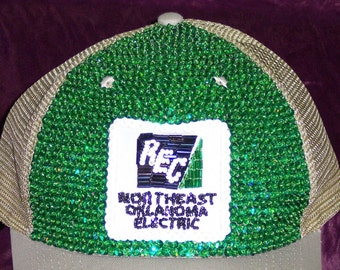 Hand Bead-and-Sequined Branded Ball cap