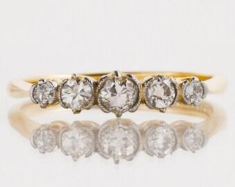 Antique Wedding Band - Antique 18k Yellow Gold & Platinum Diamond 5-Stone Band
