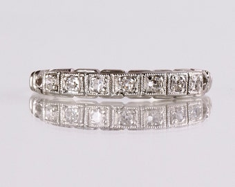 Antique Wedding Band - Antique 1910s 14K White Gold Diamond Wedding Band