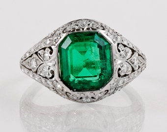 Antique Engagement Ring - Antique 1900's Platinum Gem Emerald and Diamond Ring