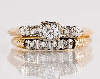 Antique Engagement Ring - Antique 1930s 14k Yellow & White Gold Diamond Wedding Set