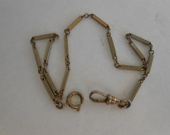 Victorian ornate White Gold filled Pocket Watch Chain 13.5 inches