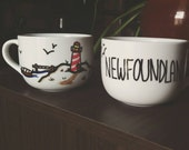 Custom Handpainted Mugs (set of 2) You Request Text and Doodle