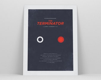 The Terminator ~ Minimal Movie Poster, Retro Minimalist Art Print by Christopher Conner