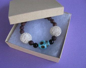 SALE, Skull Bracelet, Skull, Flower, White Flower, Bracelet, Lava Beads, Onyx