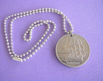 New Zealand, New Zealand Coin, Coin Necklace, Endeavour, 1982