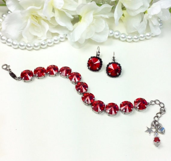 Swarovski Crystal 12MM Bracelet & Earrings -  Designer Inspired -  Gorgeous Lipstick Red - Great Accent for Any Outfit  - FREE SHIPPING