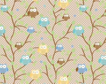SALE Snips & Snails FLANNEL Brown Owls SKU# F3541-Brown  1 Yard