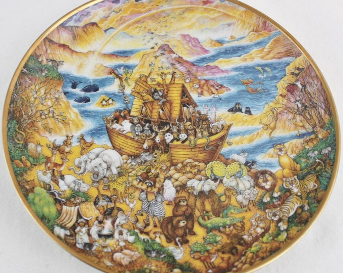 1990s Porcelain Two by Two Noah's Ark Collector Plate, Franklin Mint