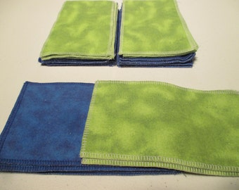 Flannel Family Cloth / Washable TP / Baby Wipes - 9 Double Ply - Bright Blue & Lime Green Tie Dye - Dees Transformations