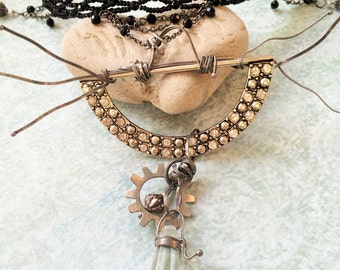 Steampunk Necklace, Choker Necklace, Beaded Choker Necklace,
