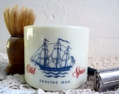 Vintage SHAVING MUG, Old Spice, Creamy Yellow, American Glass Cup. Collectors Item, 1950s.