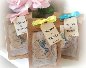 Travel Wedding Favor Bags with Personalized Tags, Map Favors, Goodie Bags, Bridal Shower, Baby Shower, Rustic Kraft Favor Bags