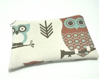 Owl Cosmetic Bag, Zippered Pouch, Owl Pouch, Gadget Accessory