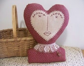 Primitive Heart Lady Shelf Sitter Valentine Decor