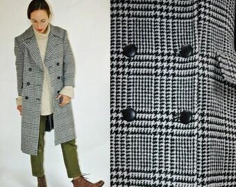 SHOP IS AWAY 1980s Pendleton Black White Plaid Coat