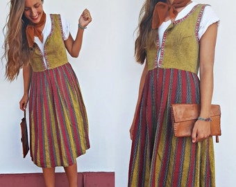 SHOP IS AWAY 1970s Polish Folk Dress with Woven Trim
