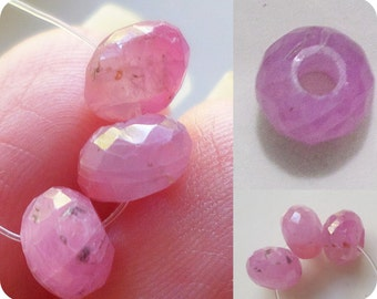 1 - Large Hole - Pink Sapphire - 6.5mm Micro Faceted Rondelle Bead, 2mm Big Drill Hole Precious Gemstone Bead, AA Loose Sapphire Bead
