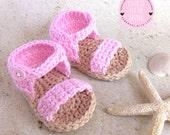 Crochet Baby Girl Sandals, Baby Sandals, Baby Girl Booties, Crochet Girl Sandals, Infant Crochet Sandals, Pink Sandals, Baby Summer Booties