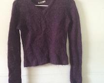Fuzzy purple cropped sweater 90s