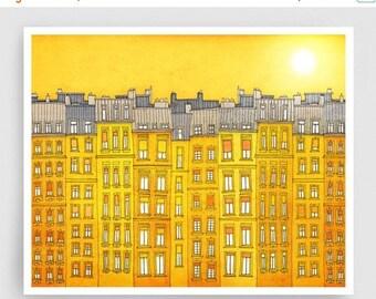 20% OFF SALE: Yellow facade (landscape)- Paris illustration Fine art illustration Poster Paris art City print Paris decor Travel poster Wall