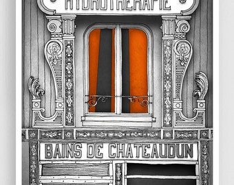 Paris Art Print - Hydrotherapie (grey) - Paris Art Print Houses Illustration Home decor Nursery art Kids wall art Paris Facade Poster