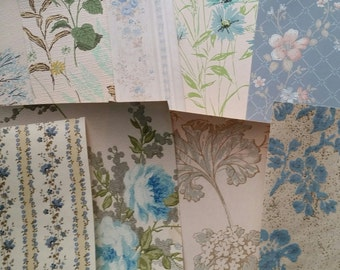 Vintage and Antique Shabby Chic Wallpaper Scrap Pack | 8 x 10 Sheets | Blue, Aqua
