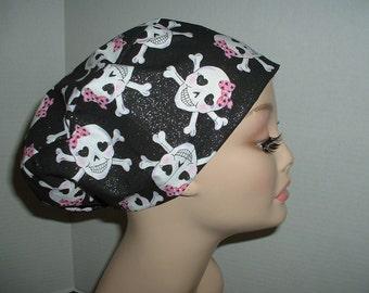 Gothic Girlie Skulls Euro European OR Surgical Scrub Hat Pink Black CRNA CORT