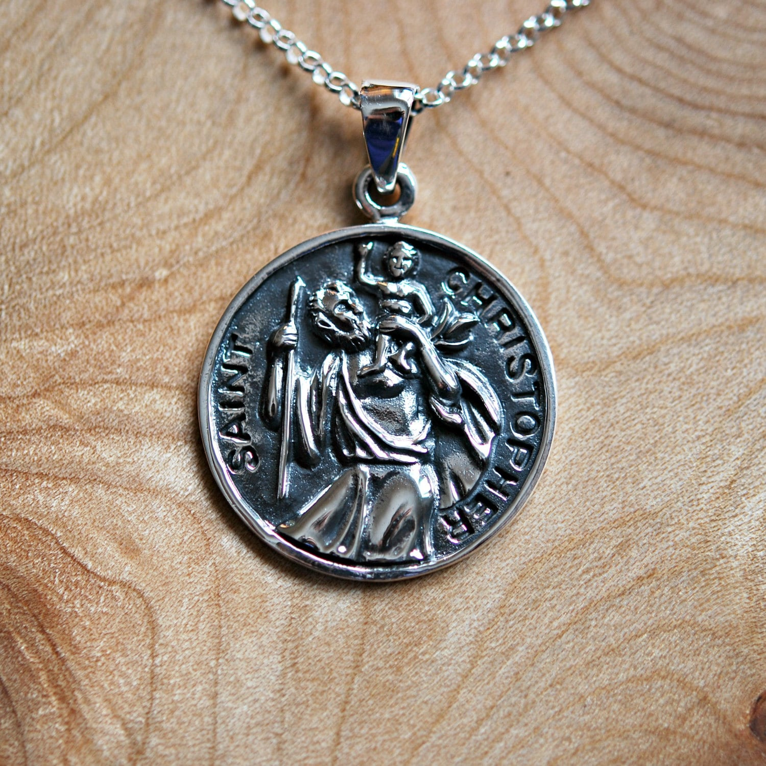St Christopher Necklace Sterling Silver Saint Christopher
