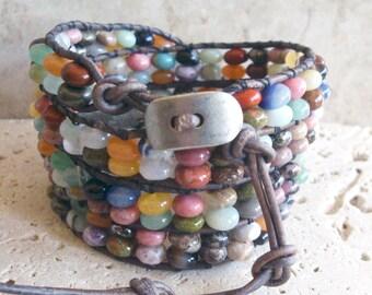 Mix#3 Gemstone Big 6x4mm Rondelle Beaded Leather 4-Wrap Bracelet