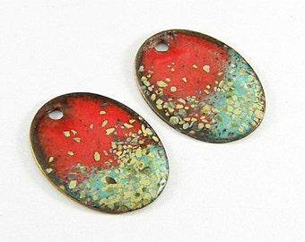 Enameled Copper Oval-Southwest-Red-Seafoam -Bohemian Beads-Boho