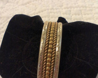 Silver and Gold Cuff Bracelet, Navajo
