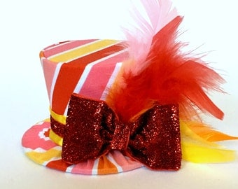 Mini Top Hat Headband, Stripe, READY TO SHIP, 1st Birthday, Tea Party, Sparkle Birthday, Costume, Photo Prop, Cake Smash