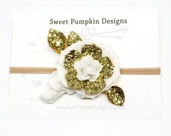 Gold Flower Headband. Baby Headband. Felt Flower Cluster. Flower Crown. White & Gold Headband. Wool Felt Flowers. Photo Prop. HB1319