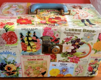Vintage seed packets and catalogue upcycled Train Case vintage fun make up bag