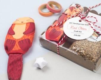 DIY Otter Handwarmer Doll Craft Kit (Red)