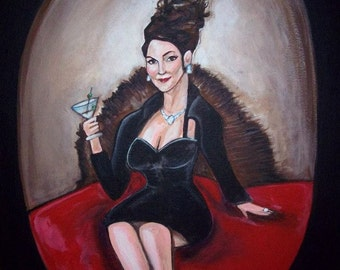 Karen Walker Megan Mullally Will and Grace Portrait painting framed in gold comedy television fan art