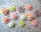 Cabochon Flowers, 12 pcs Resin Flower Cabochons in Pastels, Resin Roses, Dahlias, Sakura, Perfect for DIY Jewelry Projects