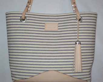 Ticking handbag, Medium Ticking purse, Ticking with leather, Navy blue ticking, Stripes