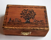 Wedding Box, Ring Bearer Box, Hand Burned Tree of Life Box, HELLO LOVE, Monogram Date Wooden Box Rustic Wedding Couple Ring Box