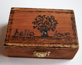 Wedding Box, Ring Bearer Box, Hand Burned Tree of Life Box, HELLO LOVE, Monogram Date Wooden Box Rustic Wedding Couple Ring Box