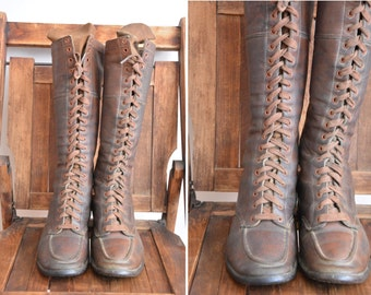 30s Wild West boots/ vintage 1930s leather boots/ vintage knee high leather lace up boots